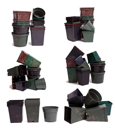 Large collection of plastic pots for plants