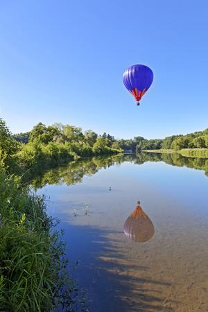 Hot Air Balloon Over Pond Vertical