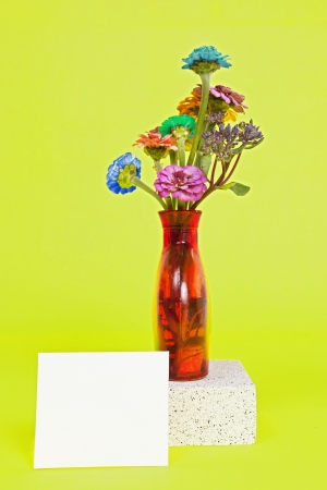 A vase of colorful wild flowers against a colorful solid background. Banco de Imagens