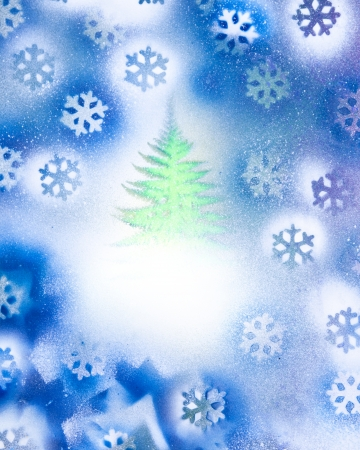 A bright green Christmas tree in a snow storm made from colorful spray paint.