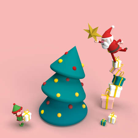 3d illustration of a smiling Santa Claus with gifts and a Christmas tree