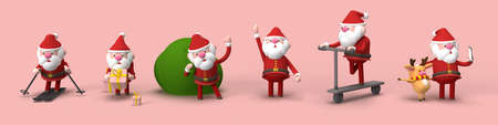 3d illustration of a smiling Santa Claus with gifts and a Christmas tree Banque d'images