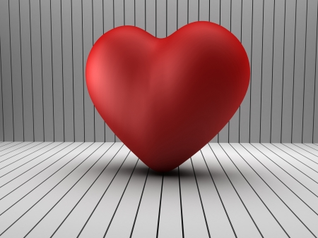mope: 3d heart shape in wooden black and white room