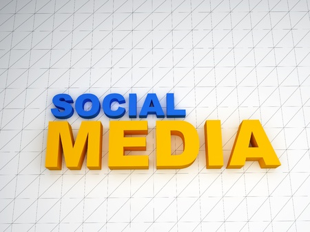 3d social media text on white background Stock Photo