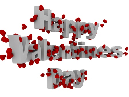 3d happy valentine day text with hearts photo