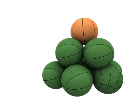 orange ball unique in green basket balls Stock Photo