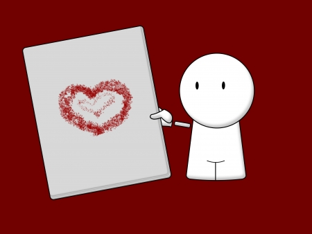 white character with heart on page isolated red background
