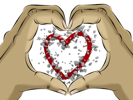 heart shaped drawing hand with small hearts Stock Photo
