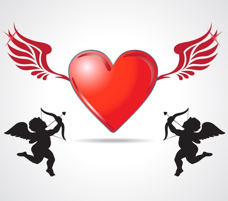 two angle kids joining heart Stock Photo