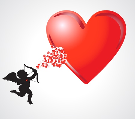cupid adding more hearts in the big heart Stock Photo - 17780895