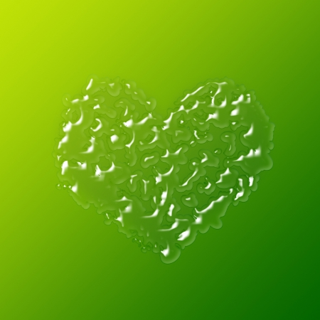 heart made up of drops on green background