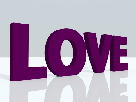 3d love text over white reflected surface