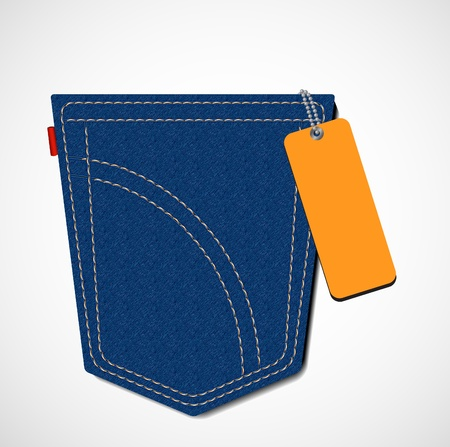 blue jeans pocket with blank orange tag