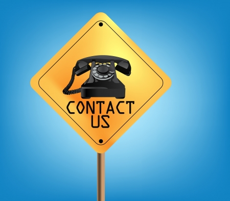 contact us sign board isolated on blue sky