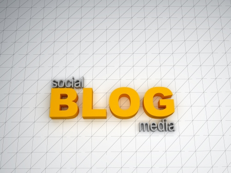 3d text on social media blog Stock Photo - 17781013