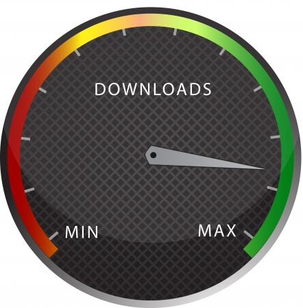 internet speed: speedometer download button Stock Photo
