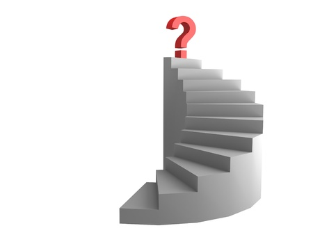 clamber: question on top of the ladder Stock Photo