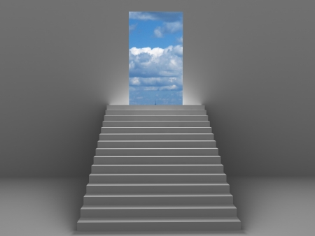 3d ladder going to sky for success Stock Photo
