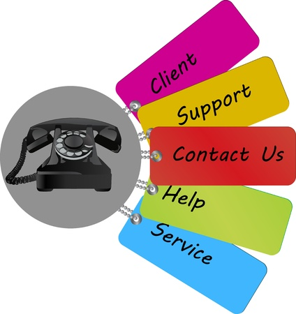 contact us text on colorful tag Stock Photo