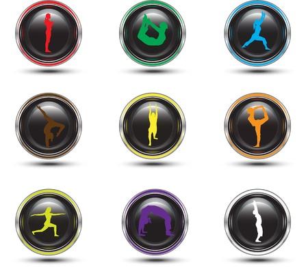 yoga icon: yoga moves on each button