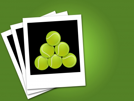 tennis balls in black & white frame isolated green background photo