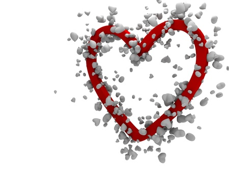 3d small hearts making big one Stock Photo - 20484221