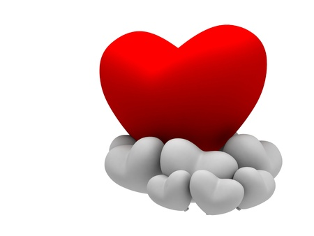 big red heart with multiple white small heart Stock Photo - 20484230