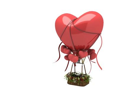 3d globo en forma de coraz�n listo para volar