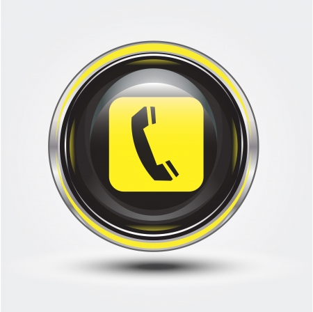 landlines: press button for contact us Stock Photo