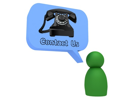 contact us bubble with green 3d character photo