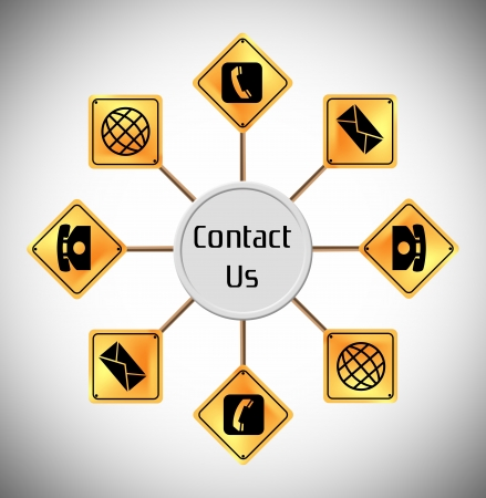 contact us sign around Stock Photo