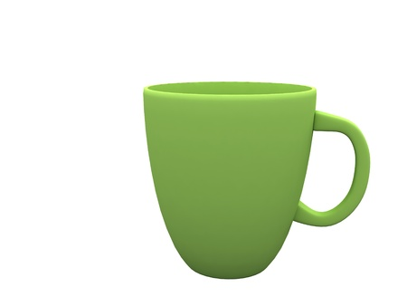 blank 3d green cup isolated on white background