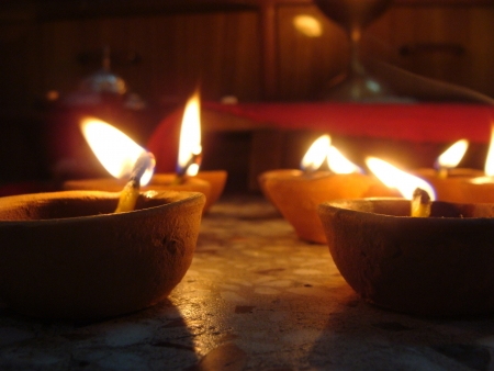 oil lamp at home in diwali photo
