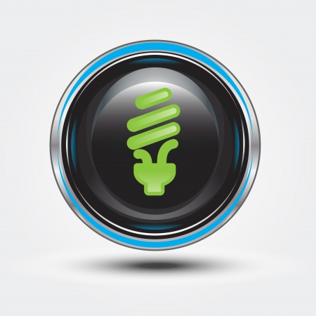eco light on black glossy button Stock Photo