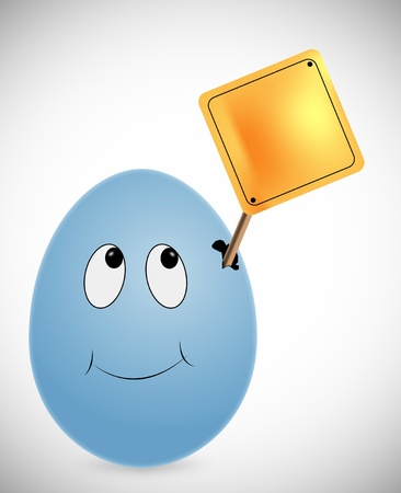 blue egg with blank sign board