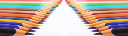 colorful pencil both sides on white background