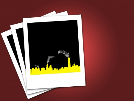 toxic emissions: industry smoke in illustrations background