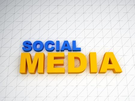 3d medios sociales texto sobre fondo blanco
