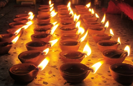 oil lamps at home in rows photo