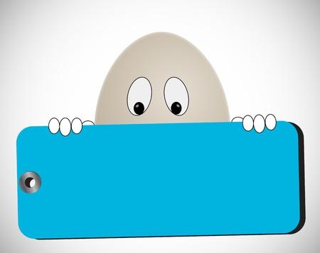 huevo sostiene la etiqueta azul en blanco