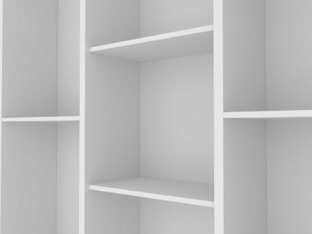3d white empty shelf space photo