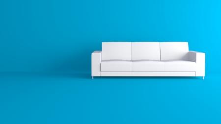 3d white sofa in blue interior photo