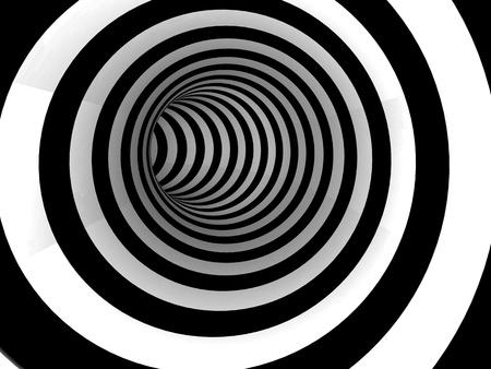 t�nel raya blanco y negro, concepto 3D Foto de archivo