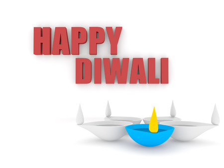 3d happy diwali text on wall with single color diya isolated white background