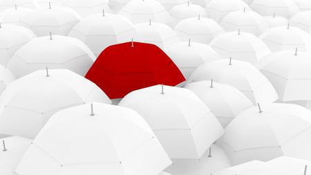3D que muestra conceptualmente l�der a trav�s de color �nico de paraguas, la mejor Foto de archivo