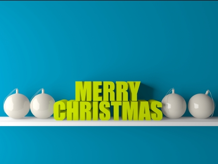 3d merry christmas text on wooden base with decorated balls
