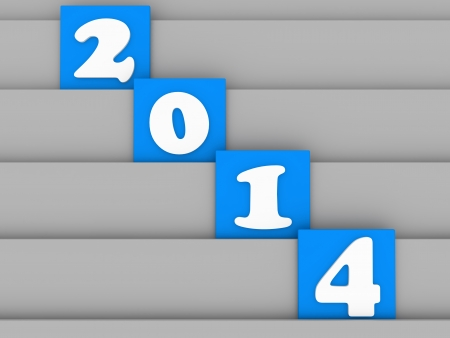 2014 separately on blue block in 3d