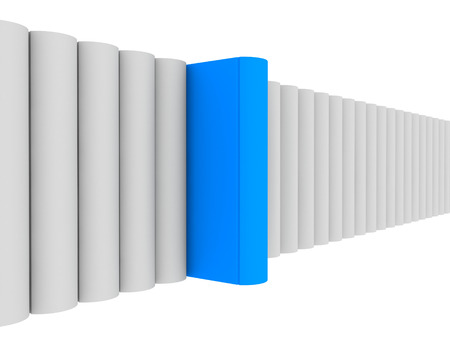 conceptual 3d de color �nico de azul para mostrar la individualidad Foto de archivo