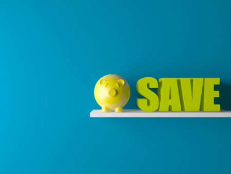 conceptually: 3d conceptually showing saving with piggy bank on wooden base in room