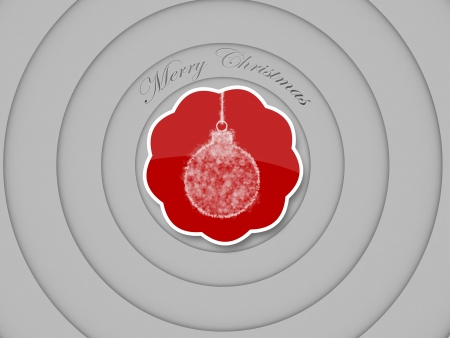 ball ornate of merry christmas tag, concentric circles on white  background Stock Photo